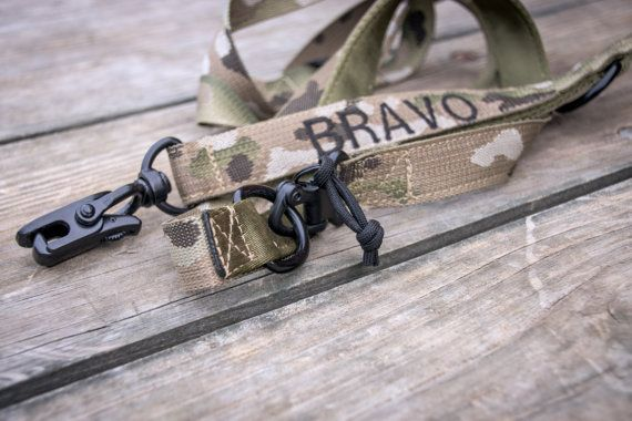 "The ""Bravo Lock Jaw"" Tactical Leash in Multi Cam / ATACS w/ Custom Embroidery (ITEM 273)"