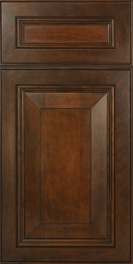 Mitered cabinet doors in cherry wood that are stained to for Chocolate pear kitchen cabinets