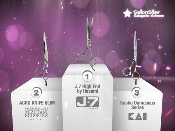 """Hier sind sie, Eure """"Hairdressers most voted"""" die SalonStars 2013 in der Kategorie Scheren:    1. J.7 High End by Hasami  - J.7 school  2. ACRO KNIFE SLIM  - Mizutani  3. Kasho Damascus Series - Kai Europe"""