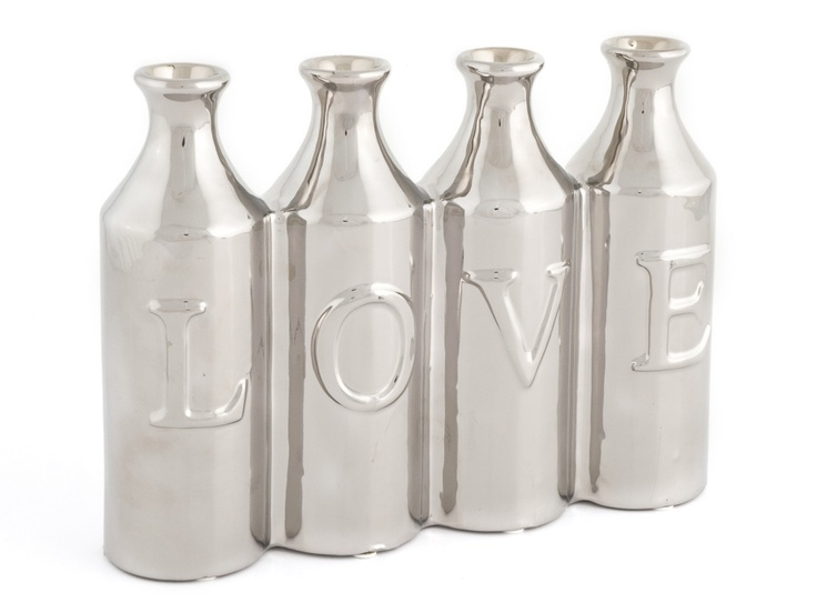 LOVE BOTTLE VASE SILVER