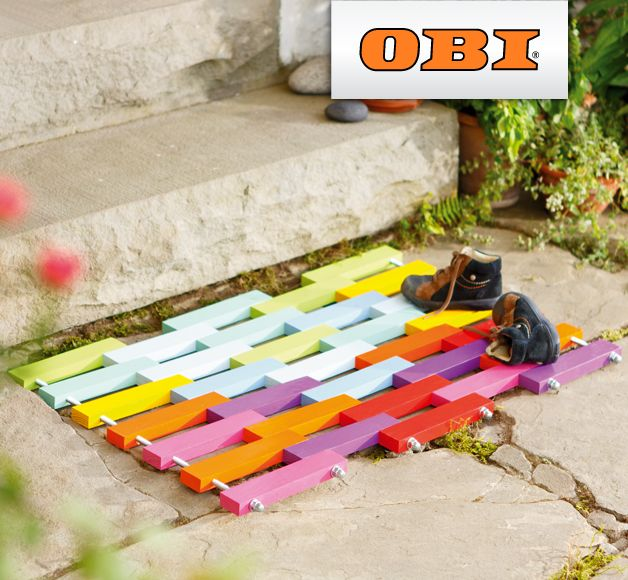 DIY Anleitung: bunte Fußmatte aus Holz // diy: how to craft a wooden doormat via DaWanda.com