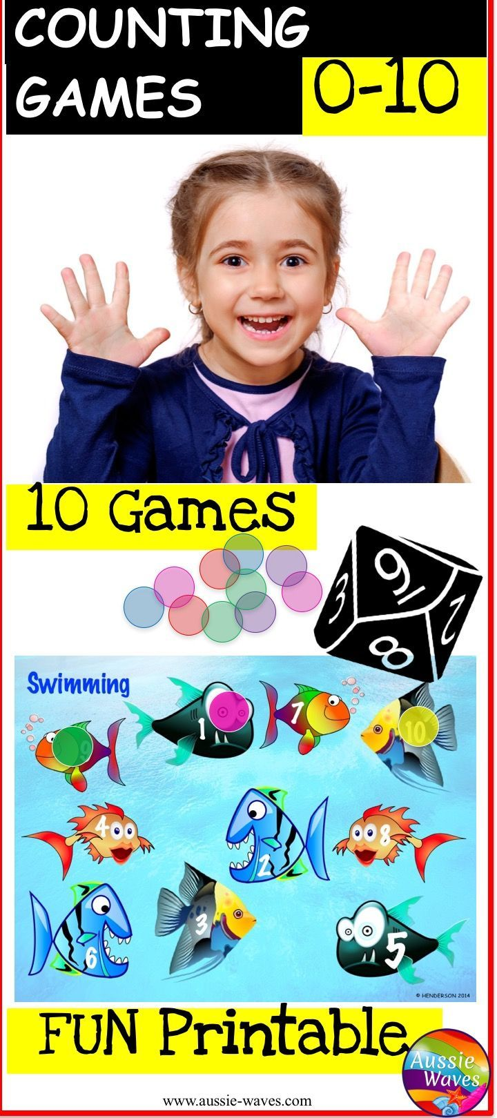Printable Math Games for Kindergarten. Roll, Cover, BUMP games are FUN and teach kids to recognise numbers, dice pattern and have fun learning!
