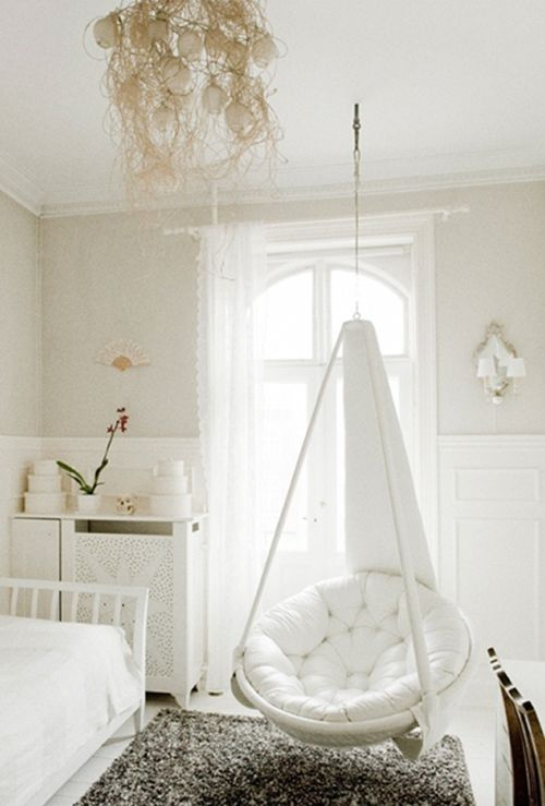 I'm gonna make this happen! Getting a white papsan chair off Craigslist, then somehow attaching it to the ceiling without it falling down...  In corner opp bed.