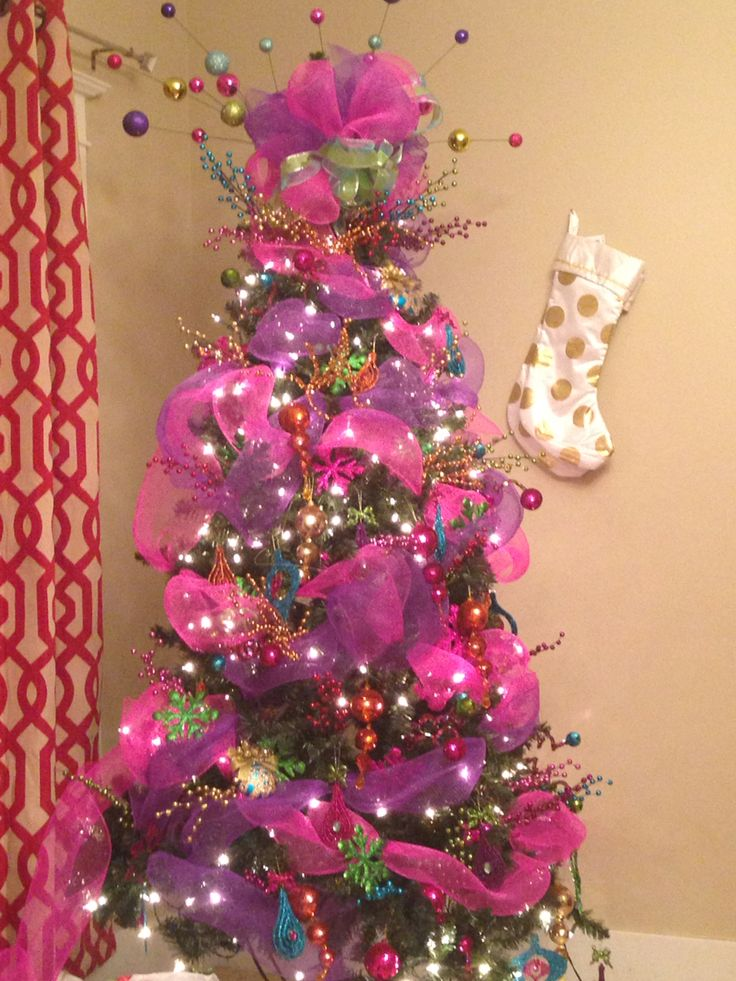 pink blue orange gold purple green red christmas tree deco mesh and ribbon my favorite yet christmas pinterest christmas christmas tree and - Purple And Lime Green Christmas Decorations