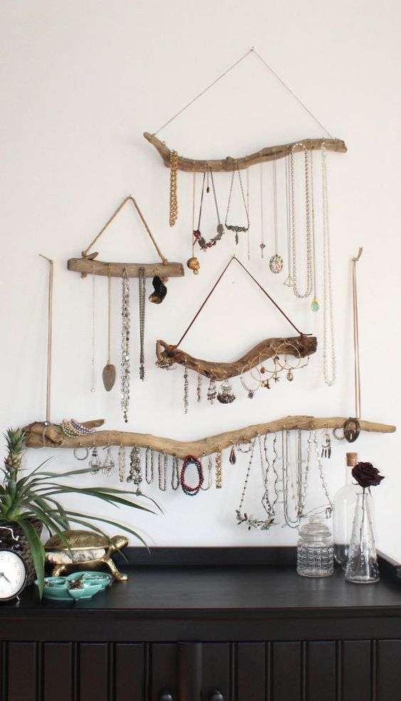 Driftwood Jewelry Display Wall Mounted Jewelry Organizer Necklace Storage Hanging Jewelry Holder/boho bohemian decor reclaimed gift women More