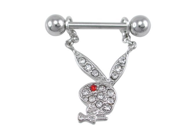 Surgical Steelsurgical Steel & Rhodium Plated White & Red Crystal Playboy Bunny Nipple Bar 1.6x11x6
