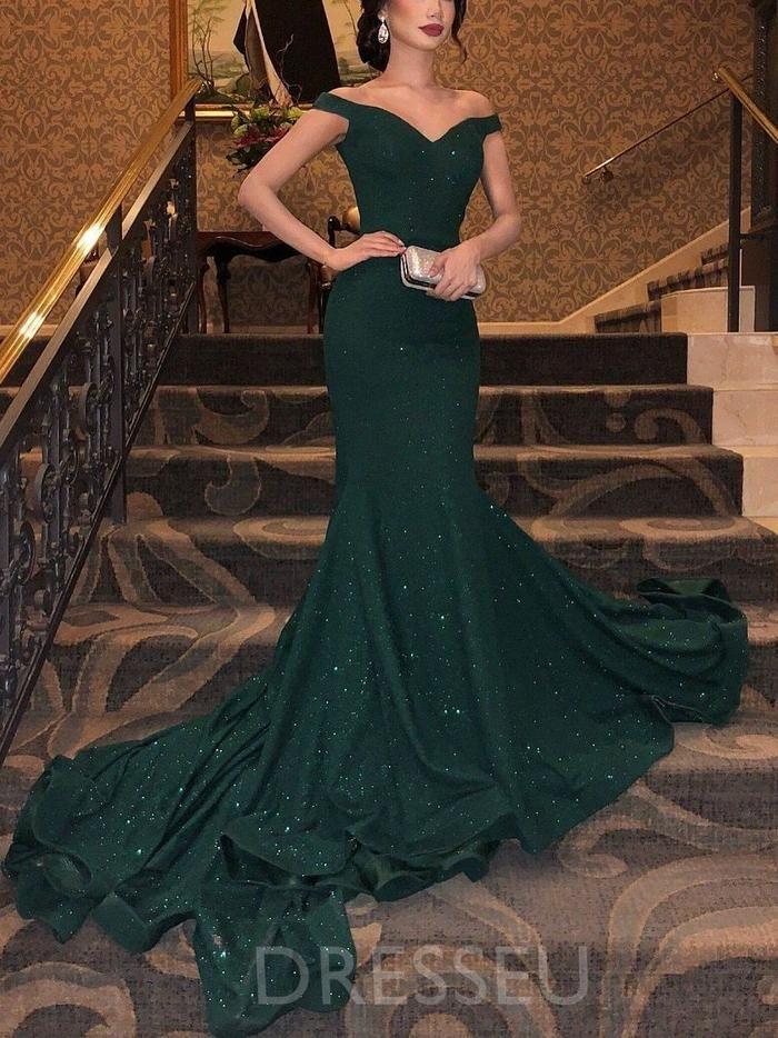 Mermaid Off The Shoulder Green Sparkly Prom Dress With Sweep Train Dresseu Kleider Abschlussball Kleider Abendkleid Grun