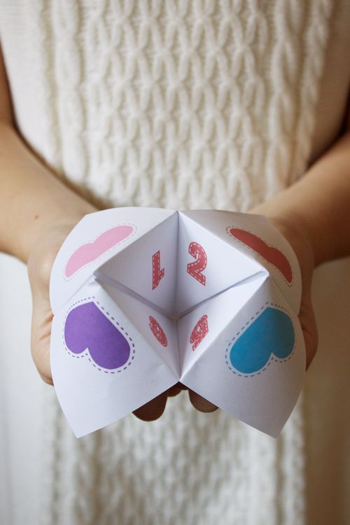 "Free printable ""fortune tellers"" for Valentine's Day. Sweet messages on the inside flaps, how cute!        I've just decided what Cayla & Logans Valentines Cards for school will look like  :0)"