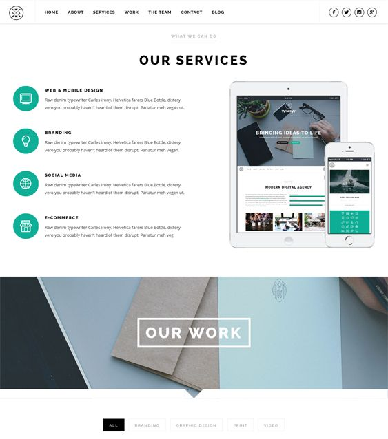 Willow is a parallax responsive one page WordPress template with a fullscreen video background, Bootstrap support, WPML, Google Font support, and much more.