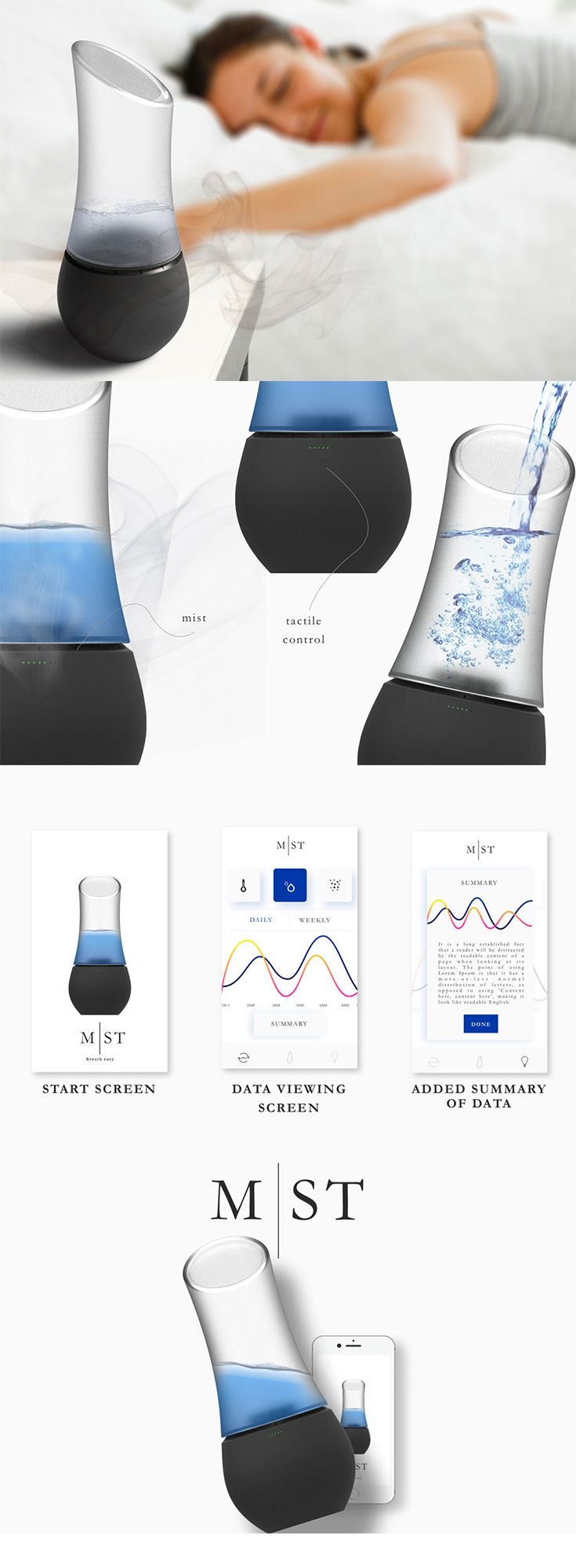 An alternative to the CPAP machine used to treat sleep apnea, MST is a smart sleep-monitoring device which tracks the user while they sleep and pinpoints data  that could contribute to restless sleep... READ MORE at Yanko Design !