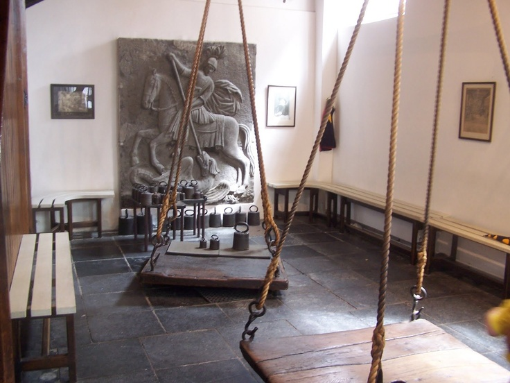 Oudewater, Netherlands. Witches weigh scales. I got weighed on here once too when I was eleven, and was found not to be a witch.