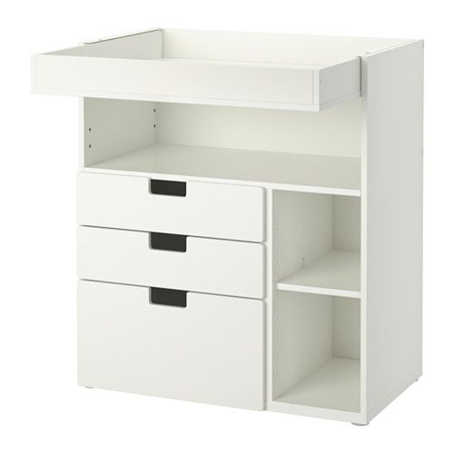 IKEA - STUVA, Changing table with 3 drawers, white, , This changing table grows with your child, flip the top and lower it to easily transform it into a desk or play surface.Practical storage space within close reach. You can always keep a hand on your baby.You can customize the space to suit your needs by adjusting the small shelves to the desired height.