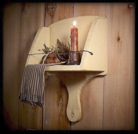 Primitive Scoop Shelf Farmhouse Wood and Wire Towel Holder Buttercream Color…
