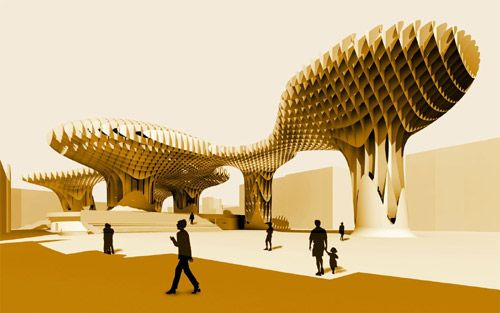 The bulk of the Parasol structure is made of Kerto, a laminated veneer lumber (LVL) product by Finnforest-Merk that can be prestressed, cut into free forms, pressure-impregnated against fungal decay and shaped offsite for rapid assembly. - Image - Design Build Network