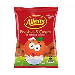 A bulk box of 12 bags of Allens Peaches And Cream. An exciting new flavour from Allen's Lollies!
