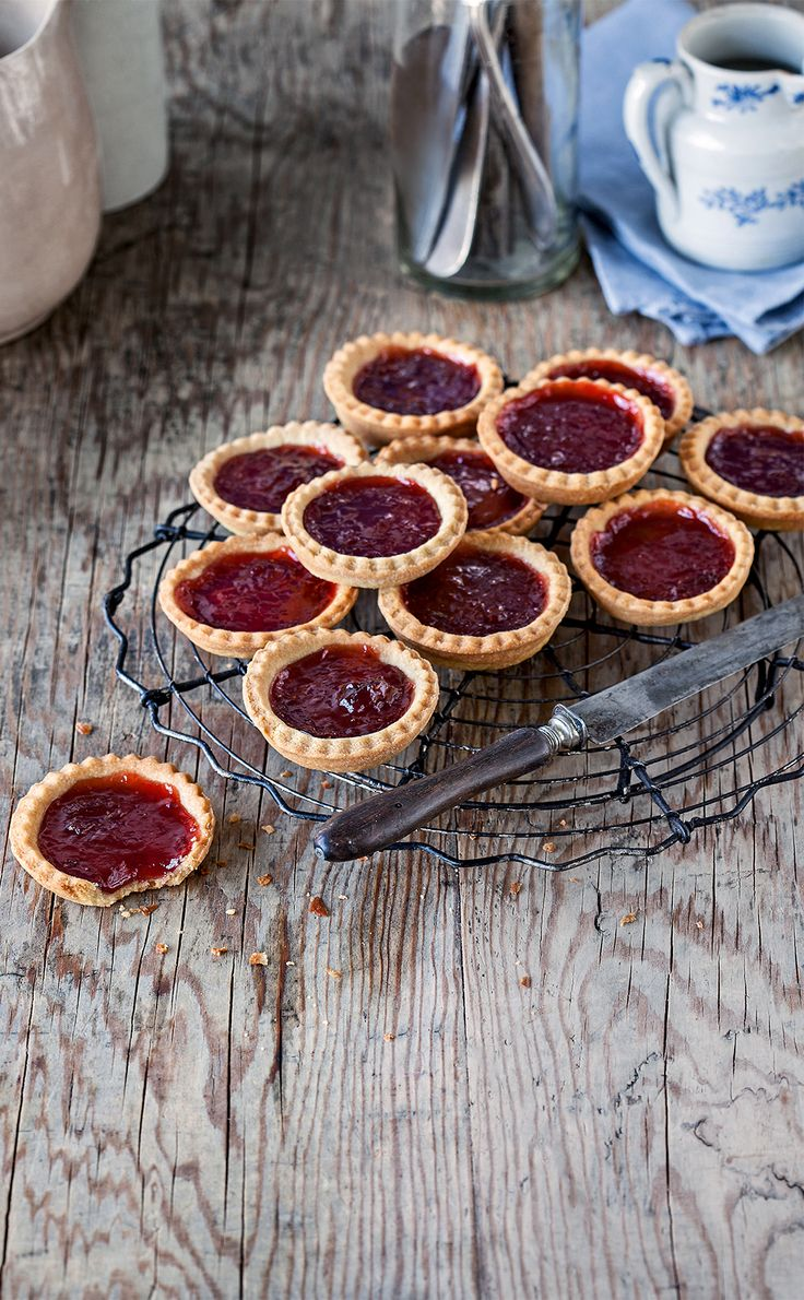 Strawberry jam tarts.