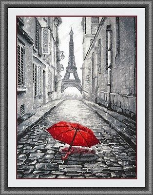 """OVEN Counted Cross Stitch Kit 868 """"In Paris rain"""" Landscapes"""