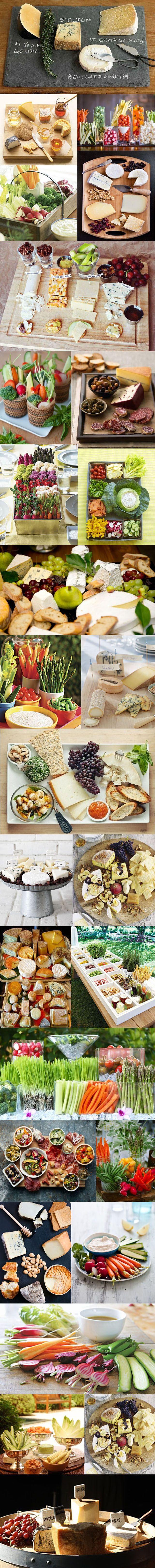 Cute appetizer displays for wine tasting party or any party. (Cheese Party Platters)