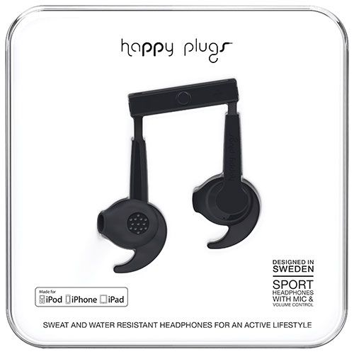 Happy Plugs Sport In-Ear Noise Cancelling Headphones - Black