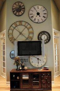 clock wall: Big Clocks, Clocks Wall, Decor Ideas, Living Rooms, Cool Clocks, Big Wall, Tv Wall, Wall Clocks, Wall Of Clocks