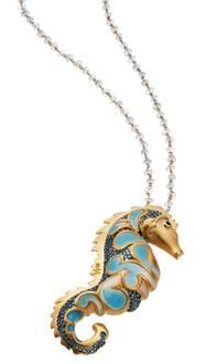 Misis Jewel - Mare nostrum collection Pendant 18kt gold plated sterling silver White cubic zirconia Blue topaz stones Light blu enamel