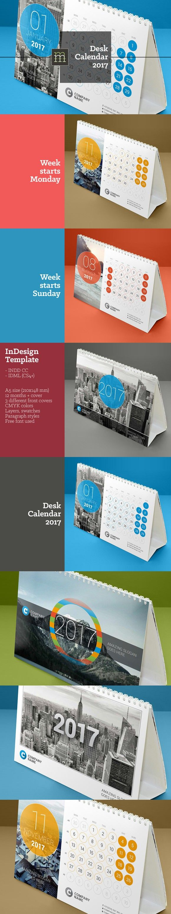 Desk Calendar 2017 (DC11). Stationery Templates. $7.00