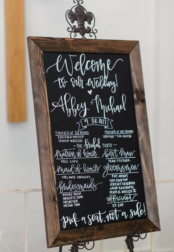 chalkboard wedding program sign rustic wedding program sign hand
