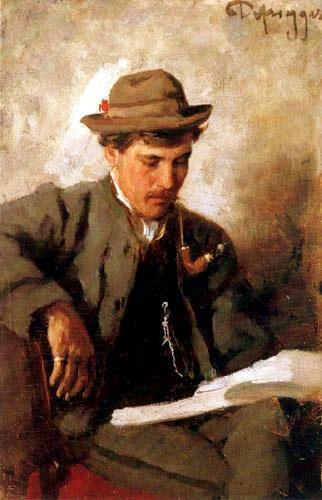Lesender Mann - Franz von Defregger, 1883 (man with a pipe, reading)