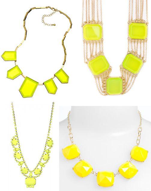 neon yellow statement necklaces