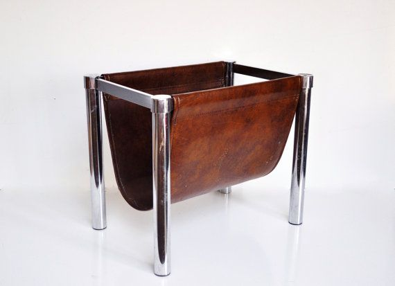 MidCentury Magazine Rack  Faux Leather and by thewhitepepper, $46.50