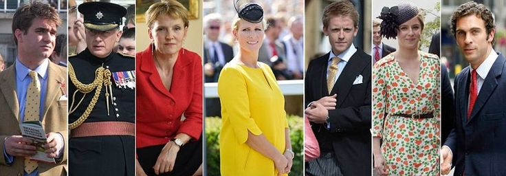 The Duke and Duchess of Cambridge today named Prince George's godparents as (left to right) their university friend Oliver Baker, William's trusted private secretary Jamie Lowther-Pinkerton, Diiana, Princess of Wales's old friend Julia Samuel, William's first cousin Zara Tindall, the Duke of Westminster's son Hugh Grosvenor, Kate's old schoolfriend Emilia Jardine-Paterson, and, William's old family friend.......