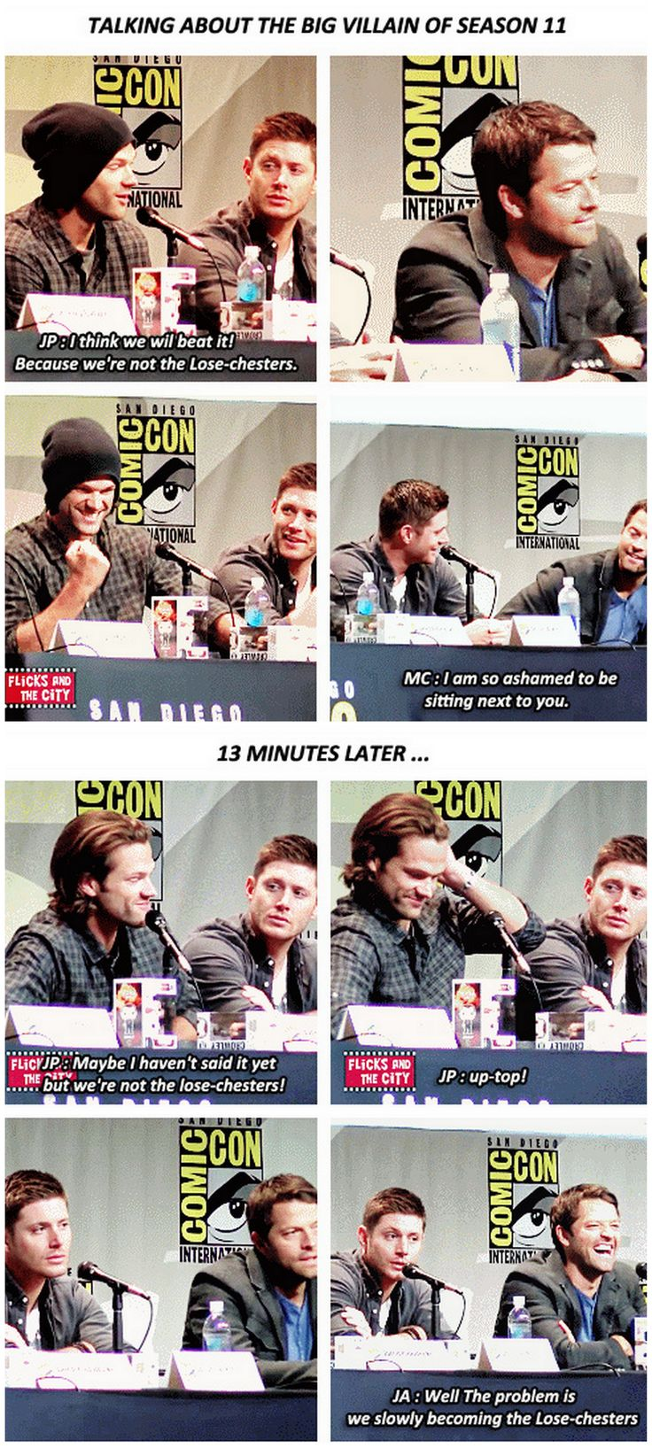 [gifset] we're not the lose-chesters! ~ Jared ... LOL ^_^ #SDCC15 || Jared Padalecki || Jensen Ackles || Misha Collins || Comic Con 2015 #SDCC
