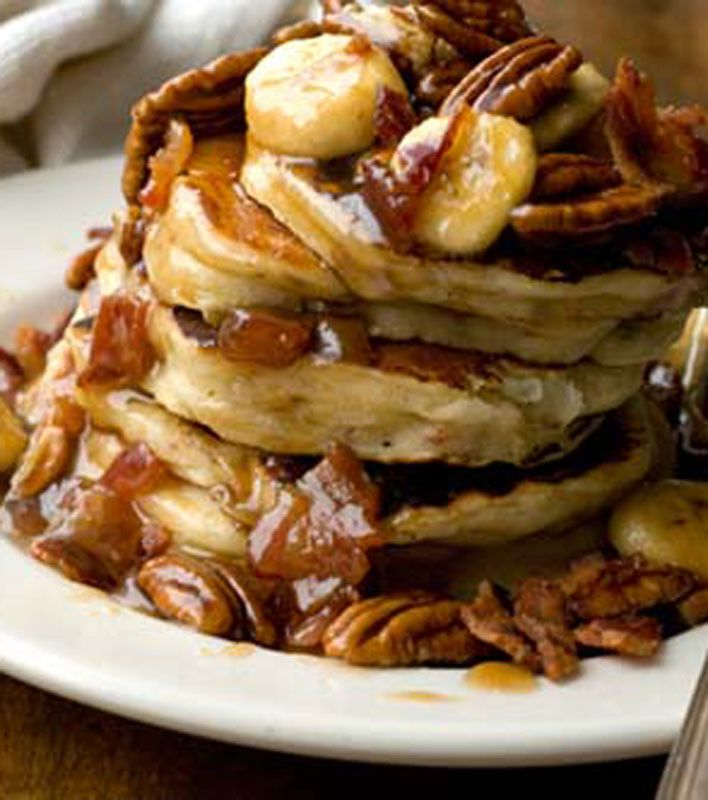 Banana, bacon, and pecan pancakes - I dont know...sounds awesome in a ...