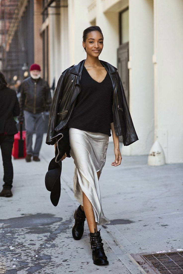 silver/moto combo. #JourdanDunn working it to perfection #offduty in NYC. #southmoltonststyle
