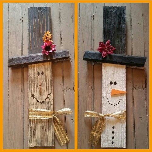 Reversible salvaged wood scarecrow/snowman holiday decor. Find us on Facebook wood rust and diamond dust