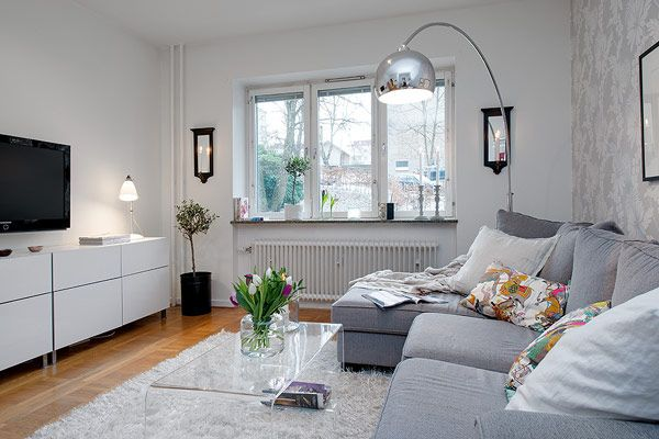 Apartments, Cozy Small Sweedish Apartment with Charming Interior Details: Gorgeous Bathroom With White Ceiling Theme