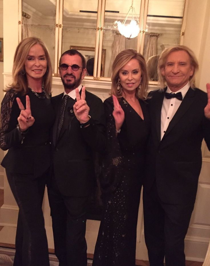 All dressed up to celebrate Joe W Who is being presented at the Kennedy Center  with his band   The Eagles.  peace and love. Barbara Bach, Ringo Starr, Marjorie Bach Walsh and Joe Walsh