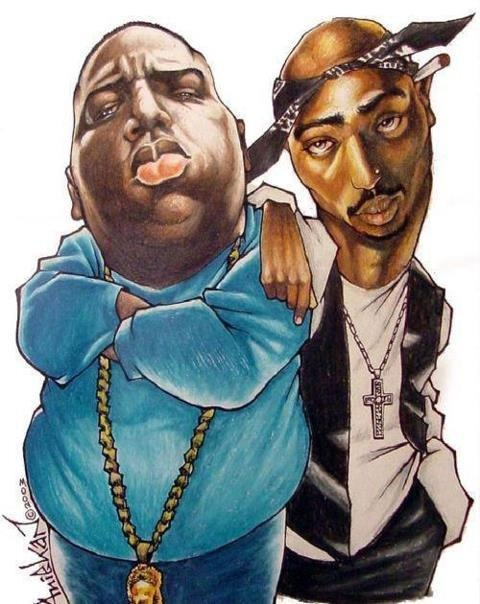 Notorious B.i.g. and Tupac | Caricatures Of Famous People ...