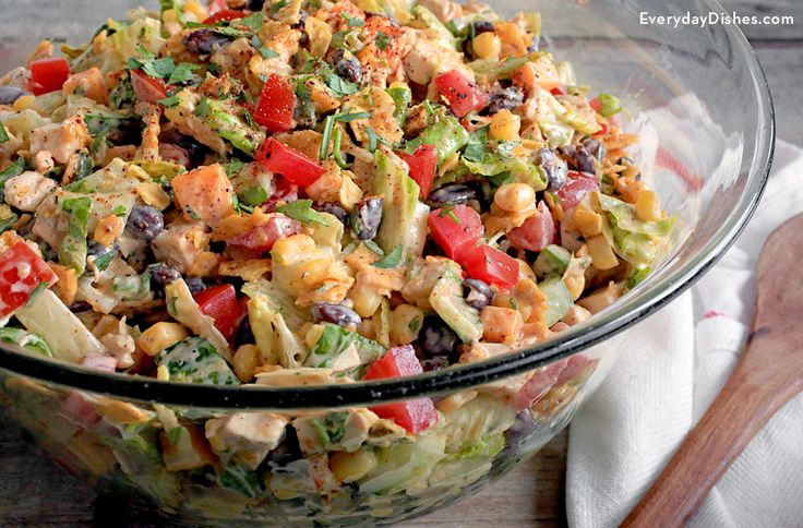 Our Tex-Mex chopped chicken salad recipe is easy to make and filling enough to be a main course!