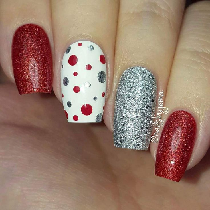 Red, white & silver polka dot mani