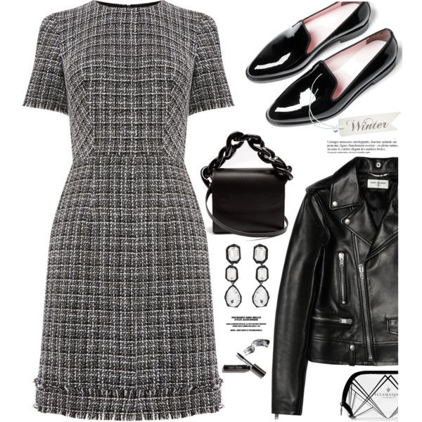 Outfit of the day by hamaly on Polyvore featuring Warehouse, Yves Saint Laurent, Everlane, Marques'Almeida, AMBUSH, Bobbi Brown Cosmetics, Illamasqua, Anja, Winter and outfit