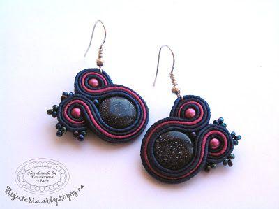 www.facebook.com/sutasz.decoupage Biżuteria handmade - sutasz  Soutache jewellery #nockairu #earrings #kolczyki