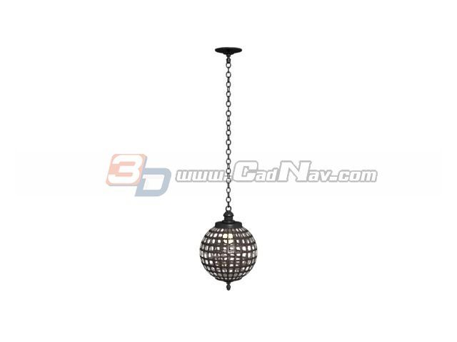 Металлический шар подвесной светильник 3d модель