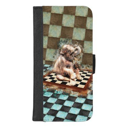 Baby Elephant on the chessboard digital art iPhone 8/7 Plus Wallet Case - baby gifts child new born gift idea diy cyo special unique design