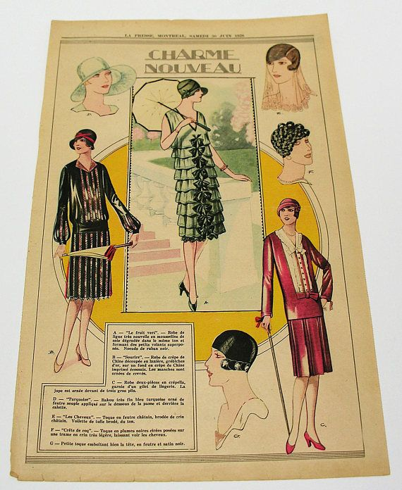 Rare Antique 1928 La Presse Newspaper Full Page Fashion