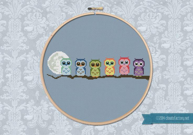 Cute Little Owls on a branch PDF cross stich by cloudsfactory
