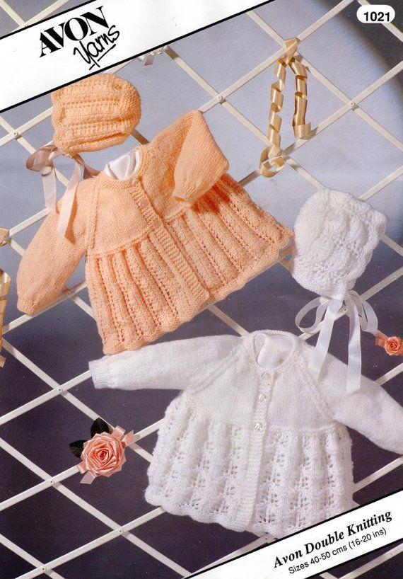 Baby Knitting PATTERN -  Matinee Jackets/Coats, Bonnets  16 to 20 ins dk 8ply