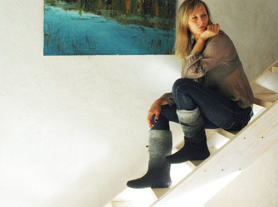 With black jeans and a Raiders Jersey and cap, hell yeah!Handmade felted Grey-black boots Ombre boots Women by jurgaZa
