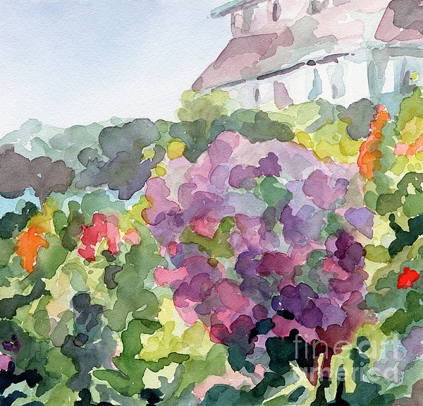 Purple Blossoms Monets Garden Watercolor Paintings of France - Beverly Brown Prints