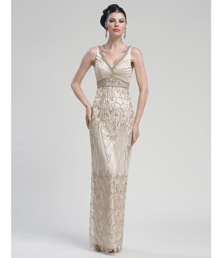 SALE! Sue Wong Spring 2013 - Long Champagne Sequined Tank Gown